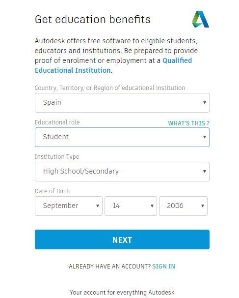 Rellenar formulario de registro autodesk