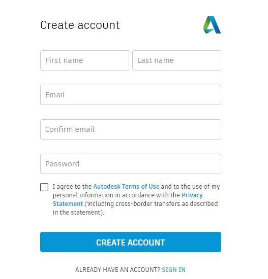 Crear cuenta Autodesk