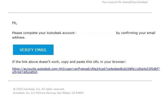 Email verificación cuenta autocad estudiantes