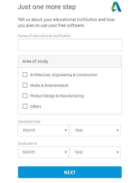 rellenar datos autodesk autocad para la licencia de estudiantes