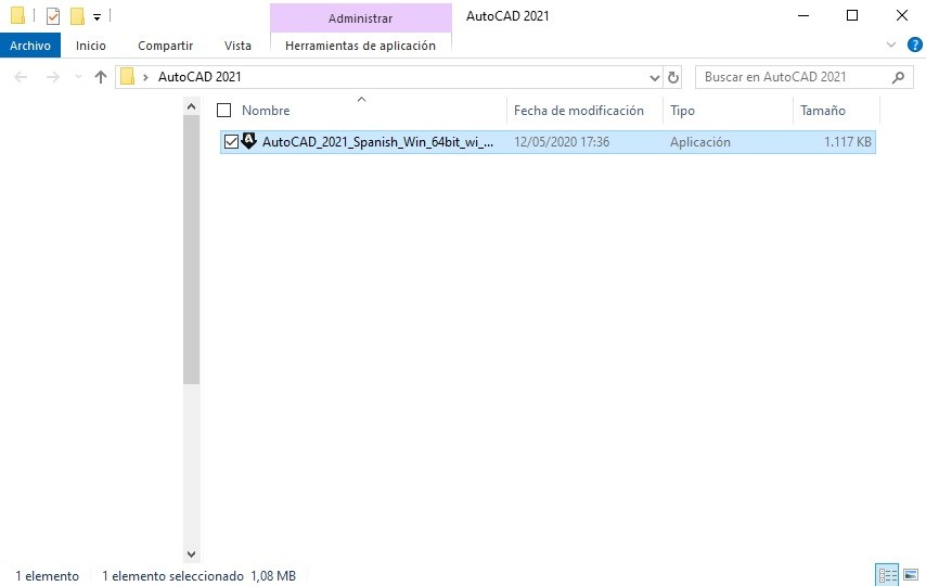 Archivo de ejecución para instalar AutoCAD 2021