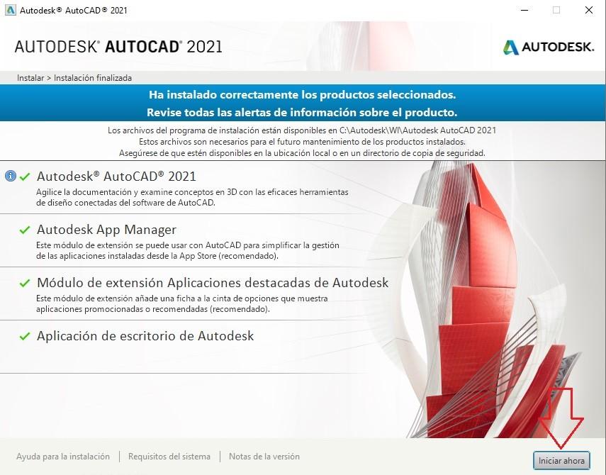 Iniciar instalación AutoCAD 2021.